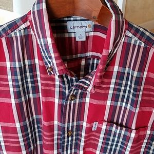 XL Carhartt Shirt Red Plaid Short Sleeve Relaxed